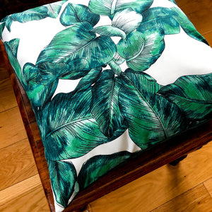 Handmade cushion - green and white palm leaves