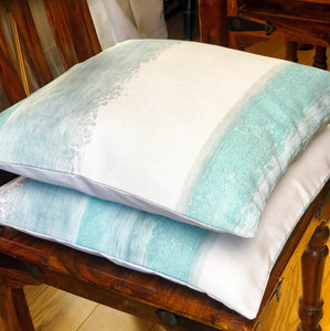 Handmade cushion cover - teal and white seascape