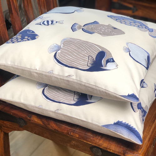 Handmade cushion - blue & white fish shoal