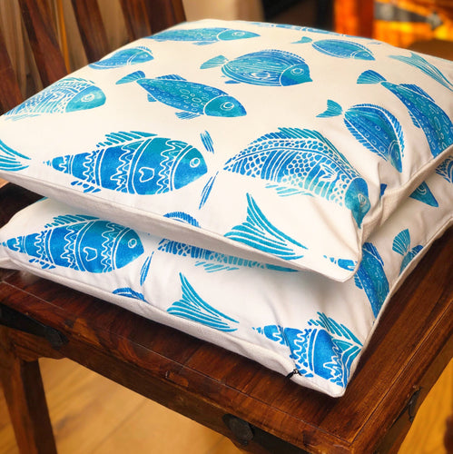 Handmade cushion - blue and white fish motif