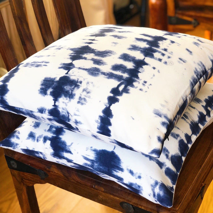 Handmade cushion - blue & white tie dye