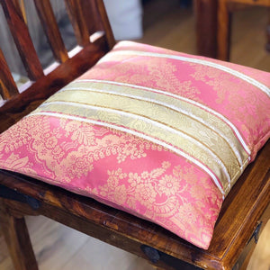 Handmade cushion cover - pink and gold floral stripe