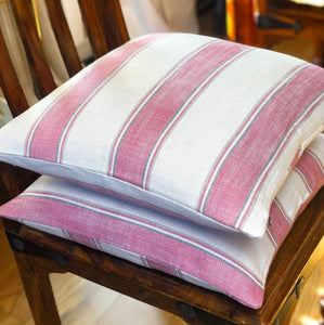 Handmade cushion - pink, cream and grey striped cushion