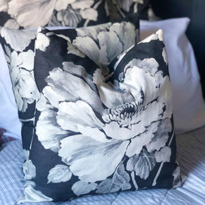 Handmade cushion - grey floral monochrome cushion -