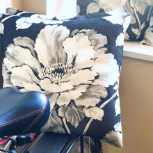 Load image into Gallery viewer, Handmade cushion cover - grey floral monochrome