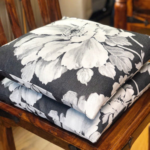 Handmade cushion cover - grey floral monochrome