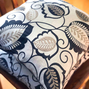 Handmade cushion - grey and silver silk-like cushion -