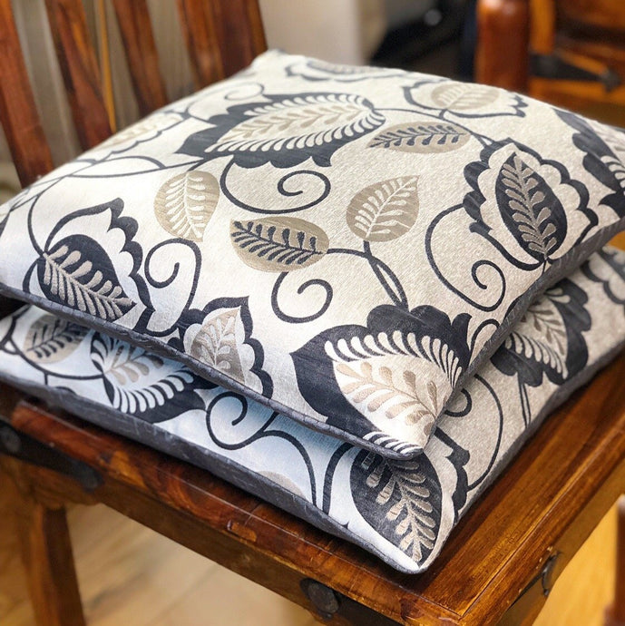 Handmade cushion cover - grey and silver silk-like