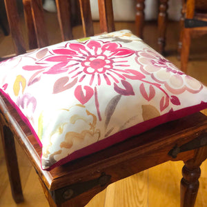 "Handmade cushion - 20"" pink, floral, watercolour effect"