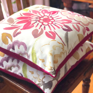 "Handmade cushion cover - 20"" pink, floral, watercolour effect"