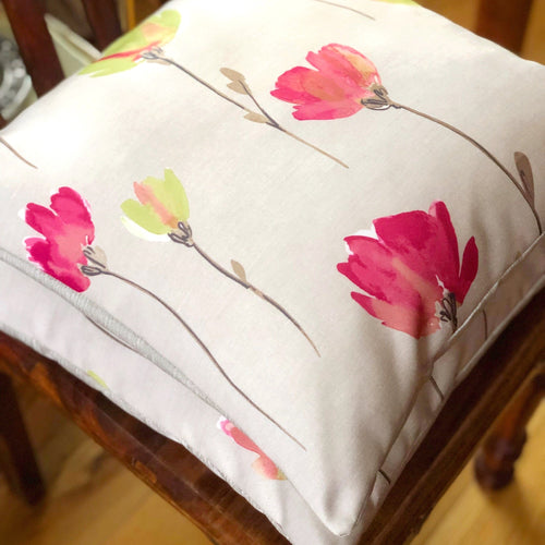 Handmade cushion - pink, green, floral, watercolour effect