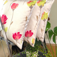 Load image into Gallery viewer, Handmade cushion cover - pink, green, floral, watercolour effect