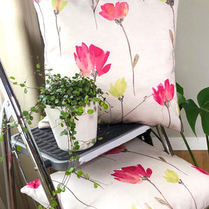 Handmade cushion cover - pink, green, floral, watercolour effect