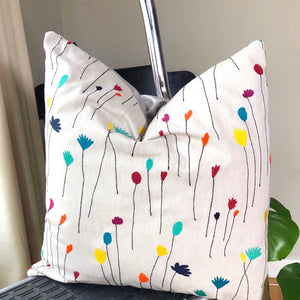 Handmade cushion - embroidered floral linen cushion -