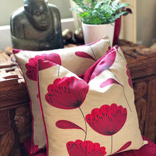 Load image into Gallery viewer, Handmade cushion - red and black poppies cushion -