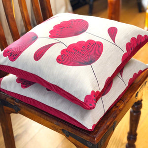 Handmade cushion - red and black poppies cushion -