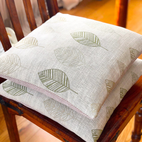 Handmade cushion - country garden embroidered linen leaves
