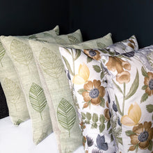 Load image into Gallery viewer, Handmade cushion cover - country garden embroidered linen leaves