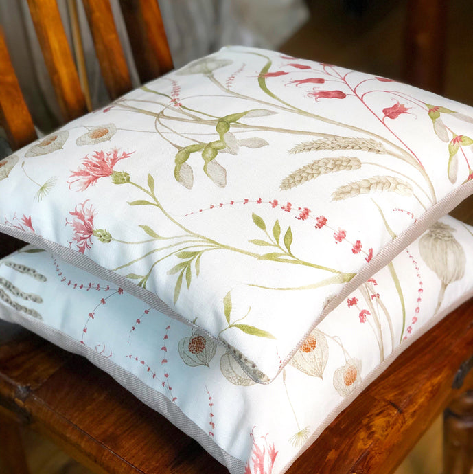 Handmade cushion - country garden hedgerow flora cushion -