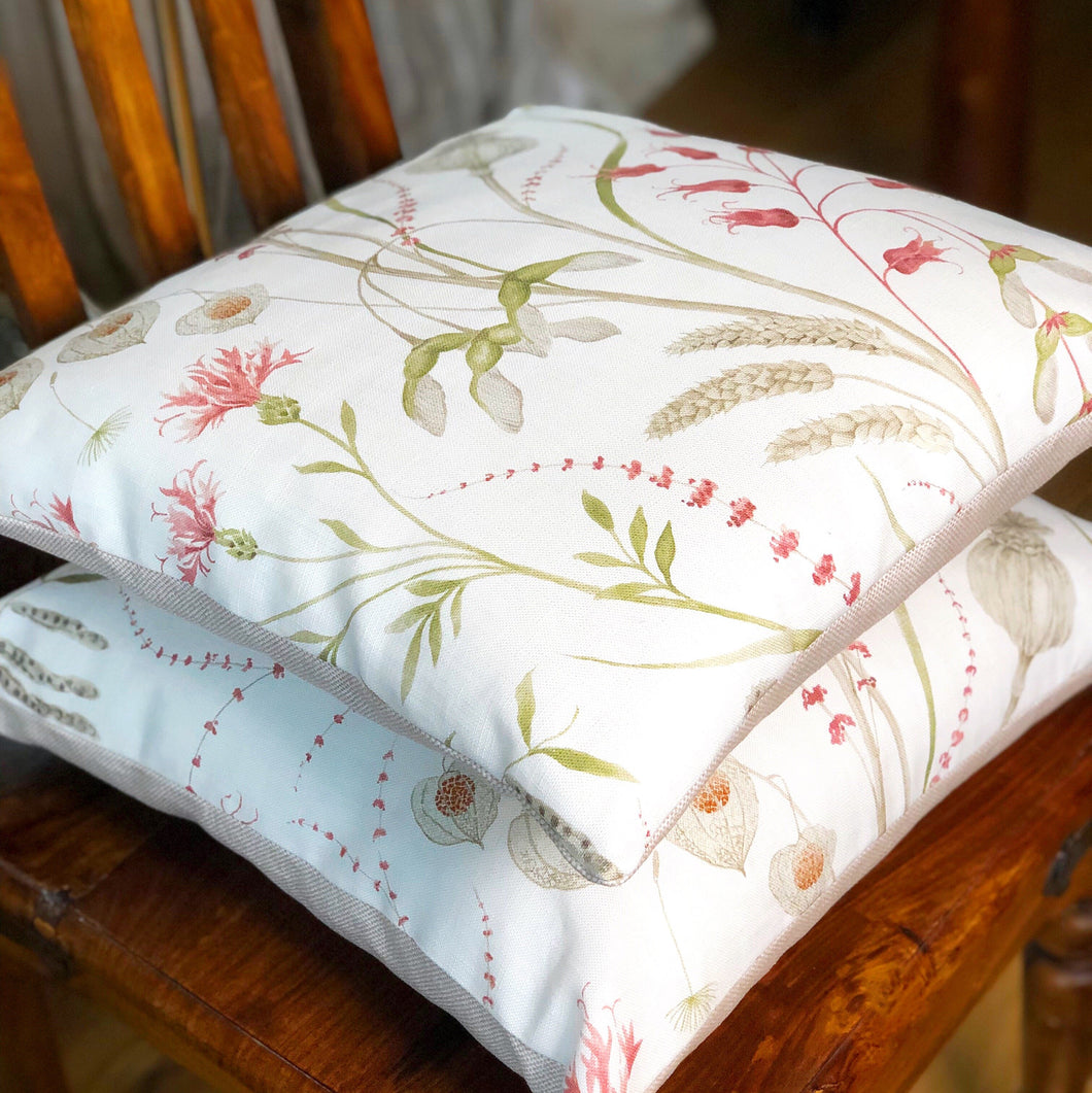 Handmade cushion cover - country garden hedgerow flora