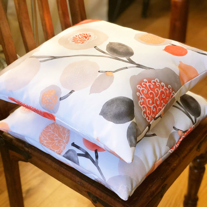 Handmade cushion - orange, floral, watercolour effect cushion -