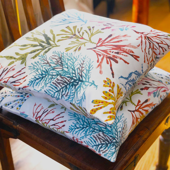 Handmade cushion - colourful floral trees cushion -