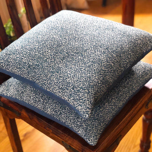 Handmade cushion - blue and white woven cushion -