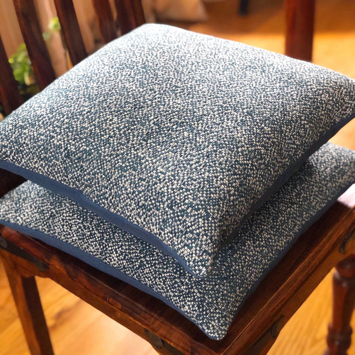 Blue and white woven cushion from The Cushion Ninja
