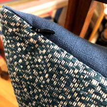 Load image into Gallery viewer, Blue and white woven cushion from The Cushion Ninja