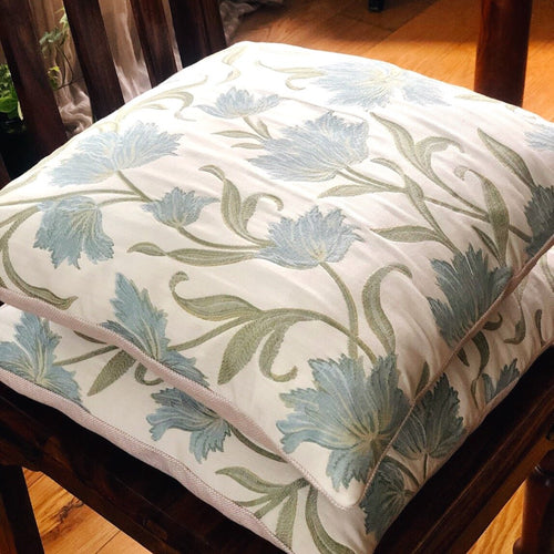 Ivory cream and blue embroidered flowers cushion cover by The Cushion Ninja