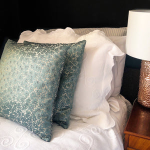 Handmade cushion cover, teal, black and cream by The Cushion Ninja