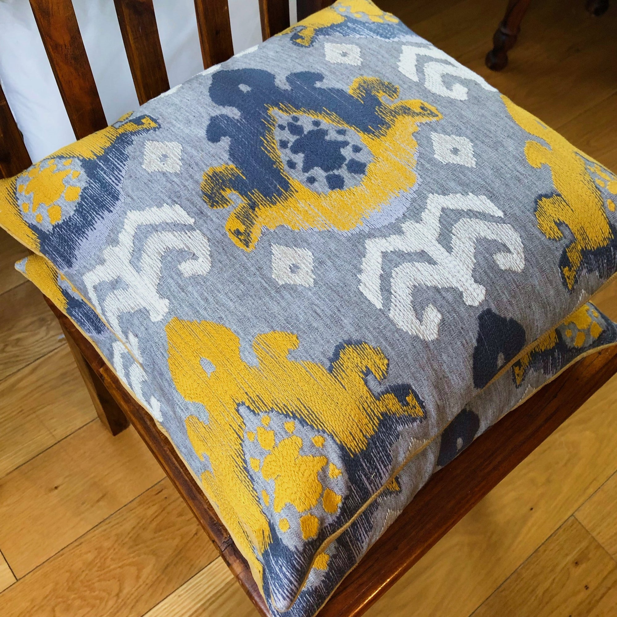 Handmade cushion - yellow, white and grey geometric weave cushion -