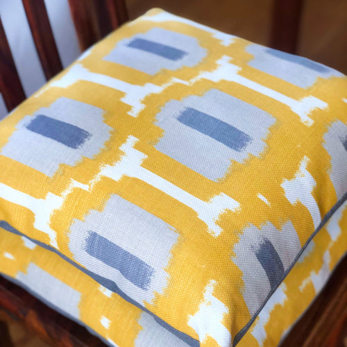 Handmade cushion - saffron yellow, white and grey geometric weave