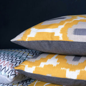 Handmade cushion - saffron yellow, white and grey geometric weave cushion -
