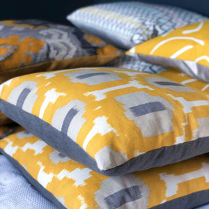 Handmade cushion cover - saffron yellow, white and grey geometric weave