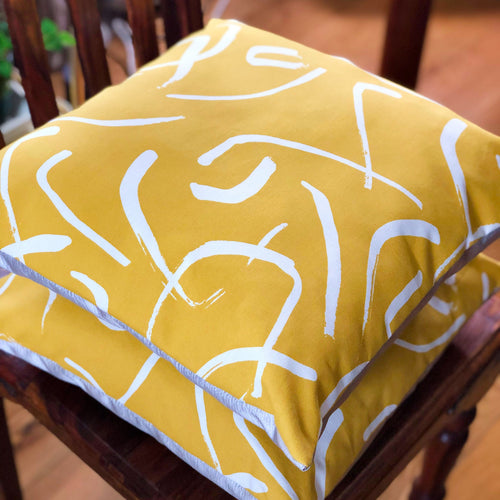 Handmade cushion - bold mustard yellow and white