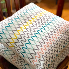 Load image into Gallery viewer, Handmade cushion - crisp multi-coloured embroidered zigzag