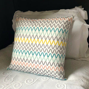 Handmade cushion - crisp multi-coloured embroidered zigzag cushion -