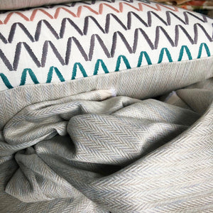 Handmade cushion cover - crisp multi-coloured embroidered zigzag