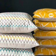 Load image into Gallery viewer, Handmade cushion cover - crisp multi-coloured embroidered zigzag