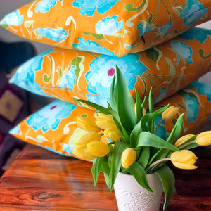 Handmade cushion - turquoise roses on saffron yellow
