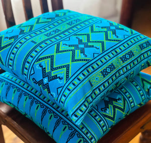 Handmade cushion - Thai fabric, turquoise and lime green cushion -