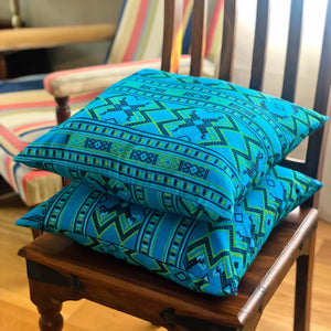 Handmade cushion cover - Thai fabric, turquoise and lime green
