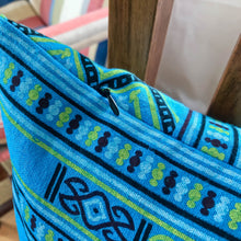 Load image into Gallery viewer, Handmade cushion - Thai fabric, turquoise and lime green cushion -