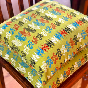 Handmade cushion - Thai fabric, vibrant lime green