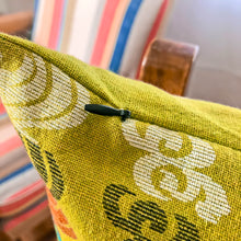 Load image into Gallery viewer, Handmade cushion - Thai fabric, vibrant lime green