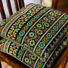 Load image into Gallery viewer, Handmade cushion - Thai fabric, multi-coloured black