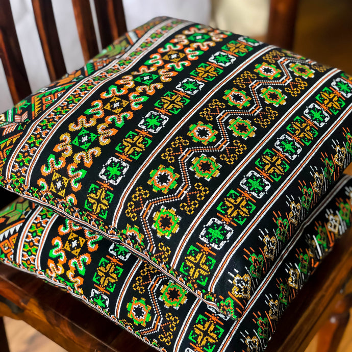 Handmade cushion - Thai fabric, multi-coloured black