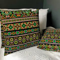 Handmade cushion - Thai fabric, multi-coloured black cushion -