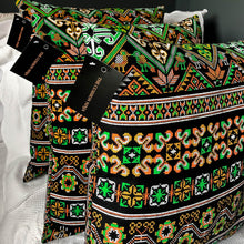 Load image into Gallery viewer, Handmade cushion - Thai fabric, multi-coloured black cushion -